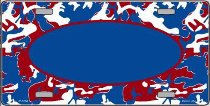 Pattern Patriotic Camouflage Pattern With Blue Center Oval Metal Novelty License Plate