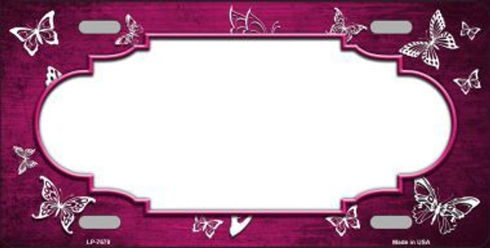 Pink White Scallop Butterfly Print Oil Rubbed Metal Novelty License Plate