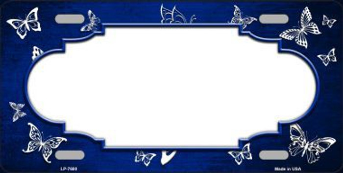 Blue White Scallop Butterfly Print Oil Rubbed Metal Novelty License Plate