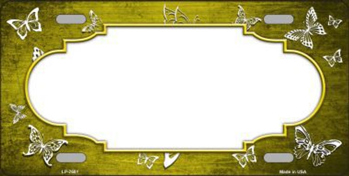Yellow White Scallop Butterfly Print Oil Rubbed Metal Novelty License Plate