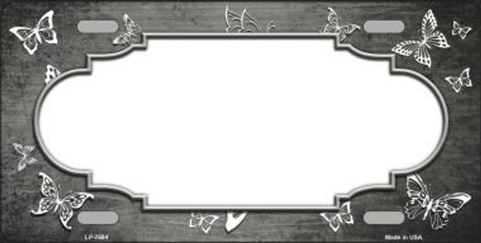 Gray White Scallop Butterfly Print Oil Rubbed Metal Novelty License Plate