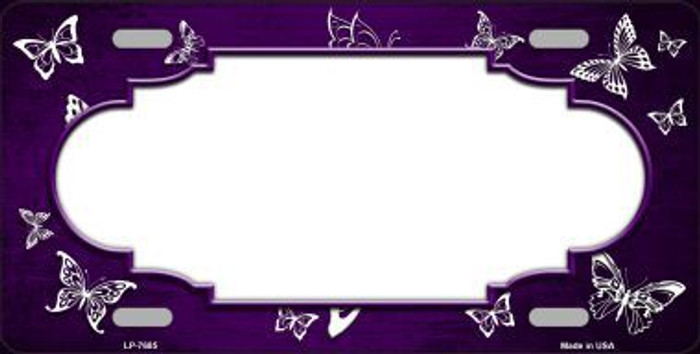 Purple White Scallop Butterfly Print Oil Rubbed Metal Novelty License Plate