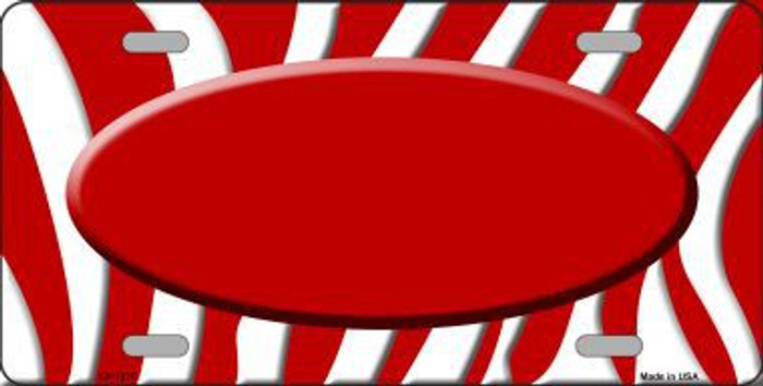 Red White Zebra Pattern With Center Oval Metal Novelty License Plate