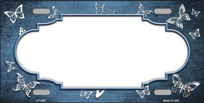 Light Blue White Scallop Butterfly Print Oil Rubbed Metal Novelty License Plate
