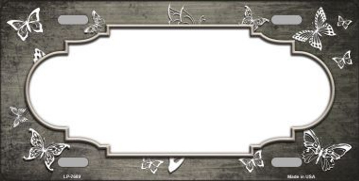 Tan White Scallop Butterfly Print Oil Rubbed Metal Novelty License Plate