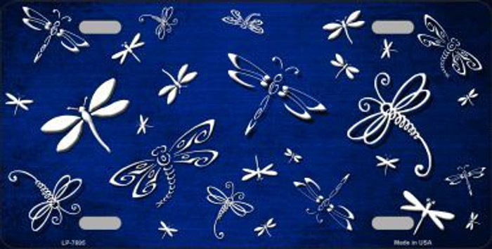 Blue White Dragonfly Print Oil Rubbed Metal Novelty License Plate