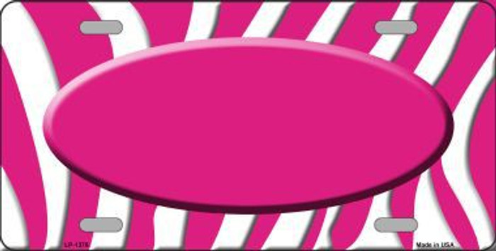 Hot Pink White Zebra Pattern With Center Oval Metal Novelty License Plate