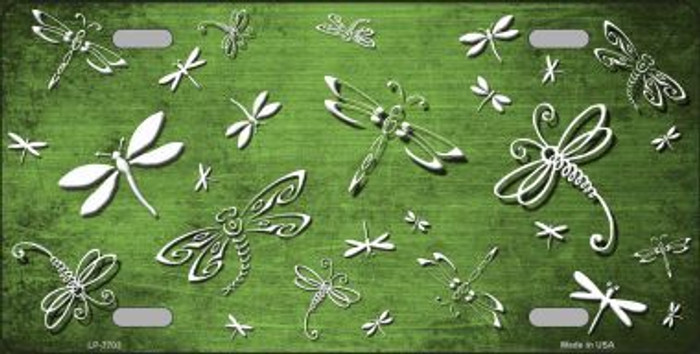 Lime Green White Dragonfly Print Oil Rubbed Metal Novelty License Plate