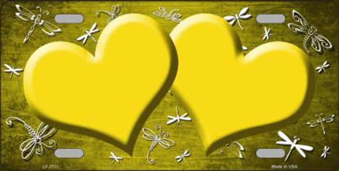 Yellow White Dragonfly Hearts Print Oil Rubbed Metal Novelty License Plate