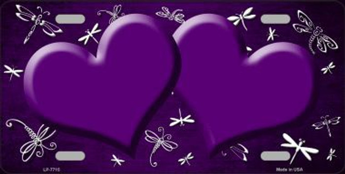 Purple White Dragonfly Hearts Print Oil Rubbed Metal Novelty License Plate