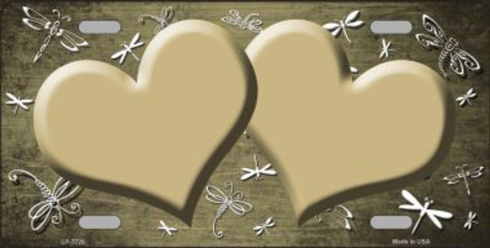 Gold White Dragonfly Hearts Print Oil Rubbed Metal Novelty License Plate