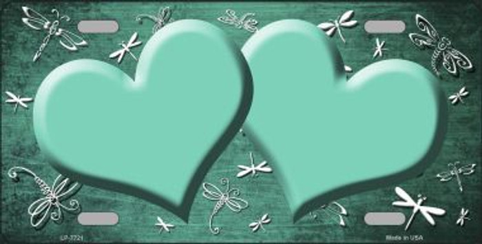 Mint White Dragonfly Hearts Print Oil Rubbed Metal Novelty License Plate