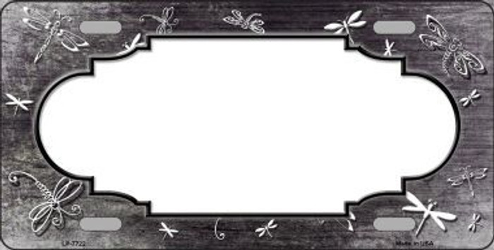Black White Dragonfly Scallop Print Oil Rubbed Metal Novelty License Plate