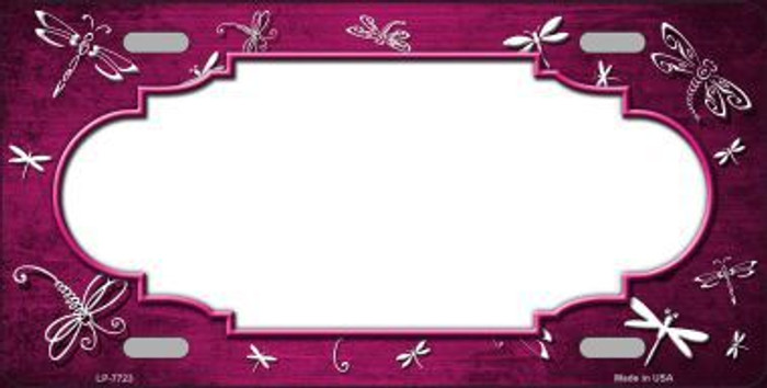 Pink White Dragonfly Scallop Print Oil Rubbed Metal Novelty License Plate
