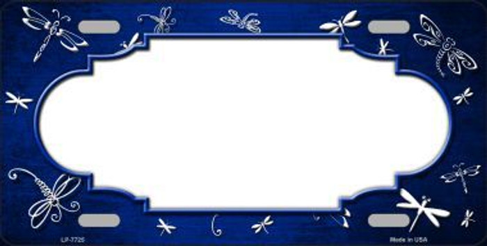 Blue White Dragonfly Scallop Print Oil Rubbed Metal Novelty License Plate