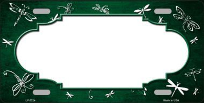 Green White Dragonfly Scallop Print Oil Rubbed Metal Novelty License Plate