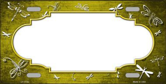 Yellow White Dragonfly Scallop Print Oil Rubbed Metal Novelty License Plate