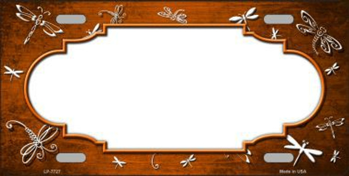 Orange White Dragonfly Scallop Print Oil Rubbed Metal Novelty License Plate