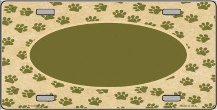 Pattern Paw Background With Center Oval Metal Novelty License Plate