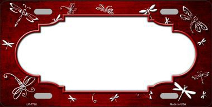 Red White Dragonfly Scallop Print Oil Rubbed Metal Novelty License Plate