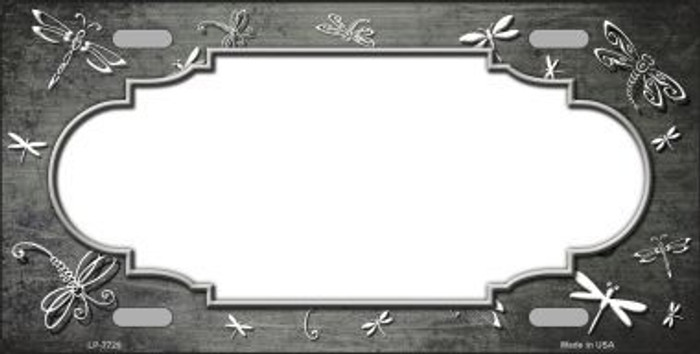 Gray White Dragonfly Scallop Print Oil Rubbed Metal Novelty License Plate