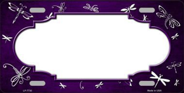 Purple White Dragonfly Scallop Print Oil Rubbed Metal Novelty License Plate