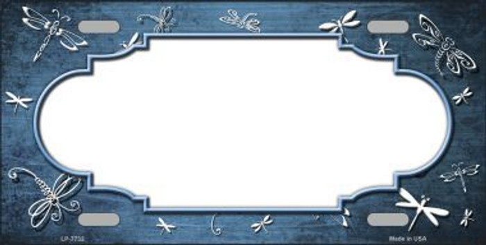 Light Blue White Dragonfly Scallop Print Oil Rubbed Metal Novelty License Plate