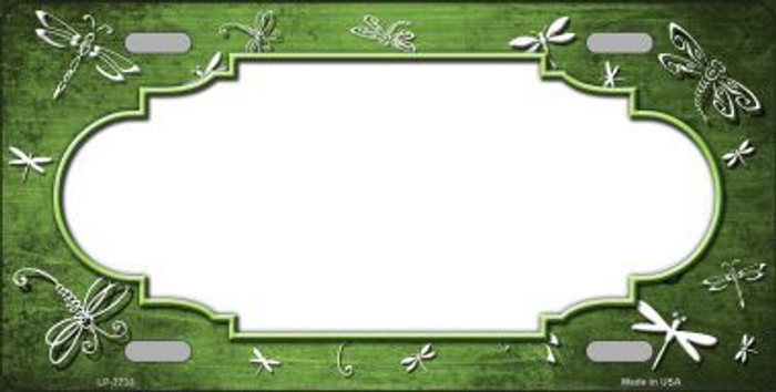 Lime Green White Dragonfly Scallop Print Oil Rubbed Metal Novelty License Plate
