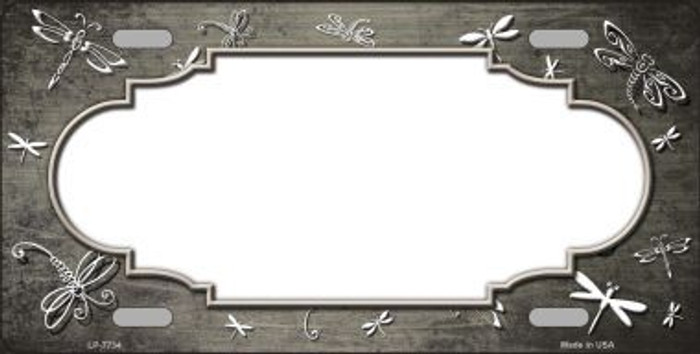 Tan White Dragonfly Scallop Print Oil Rubbed Metal Novelty License Plate