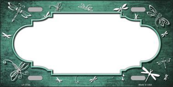 Mint White Dragonfly Scallop Print Oil Rubbed Metal Novelty License Plate