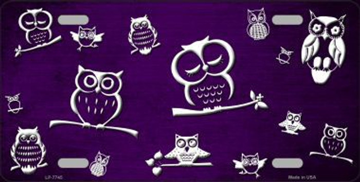 Purple White Owl Print Oil Rubbed Metal Novelty License Plate
