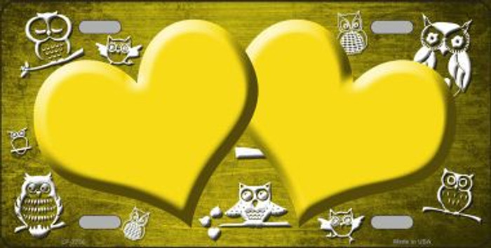 Yellow White Owl Hearts Oil Rubbed Metal Novelty License Plate