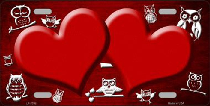 Red White Owl Hearts Oil Rubbed Metal Novelty License Plate