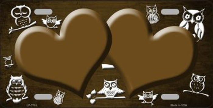 Brown White Owl Hearts Oil Rubbed Metal Novelty License Plate