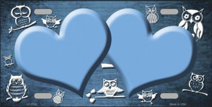 Light Blue White Owl Hearts Oil Rubbed Metal Novelty License Plate