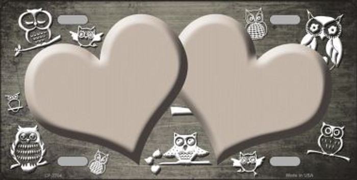 Tan White Owl Hearts Oil Rubbed Metal Novelty License Plate