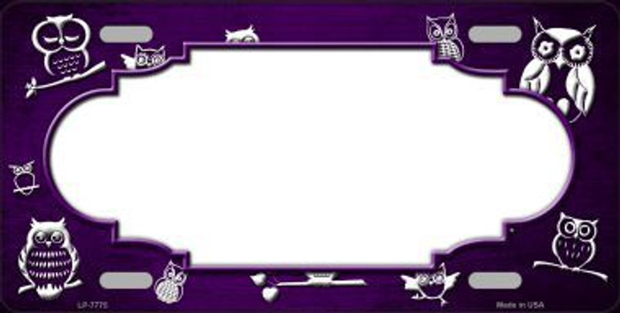 Purple White Owl Scallop Oil Rubbed Metal Novelty License Plate