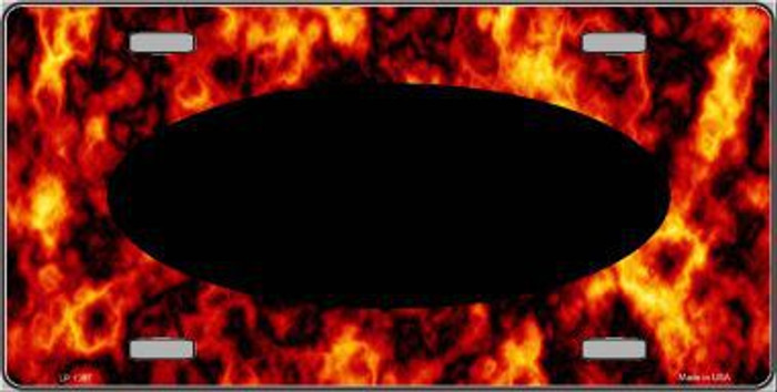 Pattern Fire Explosion With Black Center Oval Metal Novelty License Plate