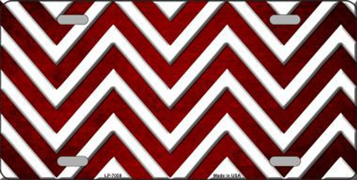 Red White Chevron Oil Rubbed Metal Novelty License Plate