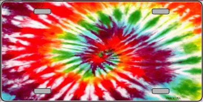 Red Swirl Tie-Dye Metal Novelty License Plate
