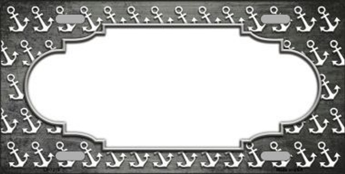 Gray White Anchor Scallop Print Oil Rubbed Metal Novelty License Plate