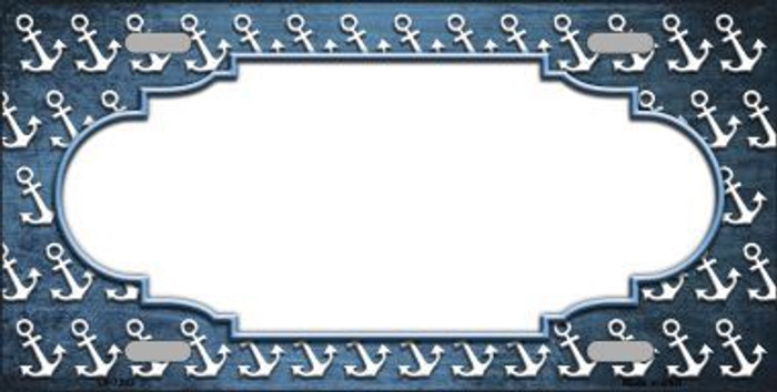 Light Blue White Anchor Scallop Print Oil Rubbed Metal Novelty License Plate