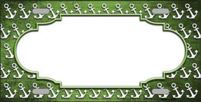 Green White Anchor Scallop Print Oil Rubbed Metal Novelty License Plate