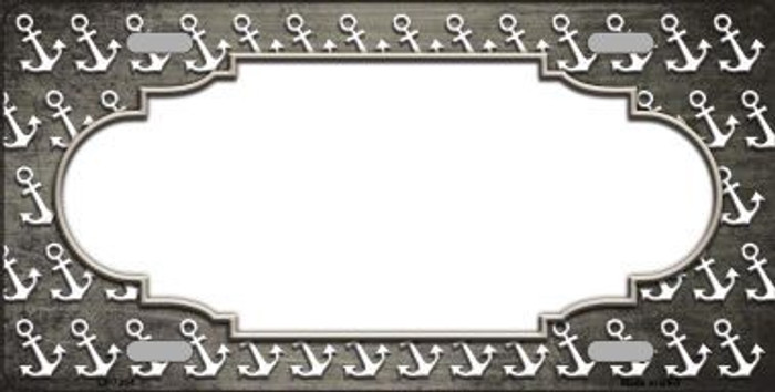 Tan White Anchor Scallop Print Oil Rubbed Metal Novelty License Plate