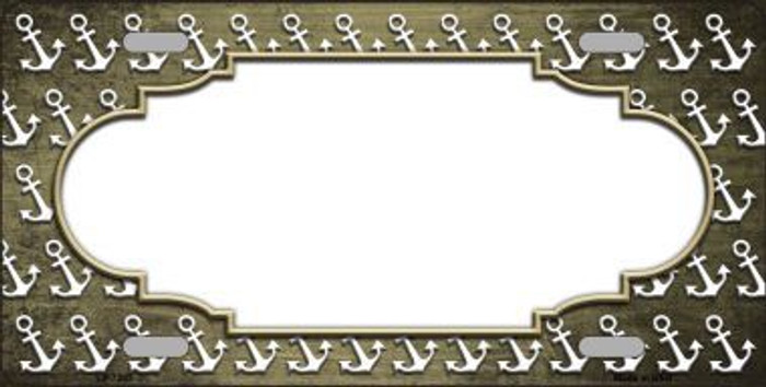 Gold White Anchor Scallop Print Oil Rubbed Metal Novelty License Plate