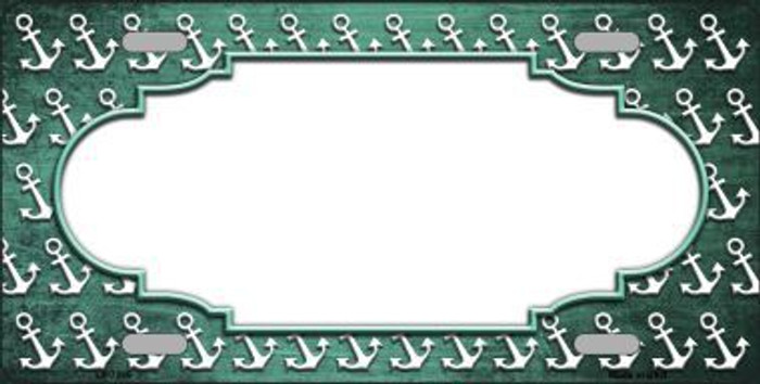 Mint White Anchor Scallop Print Oil Rubbed Metal Novelty License Plate