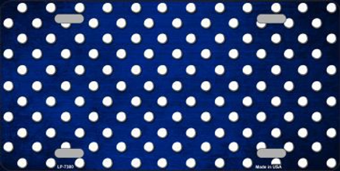 Blue White Small Dots Print Oil Rubbed Metal Novelty License Plate
