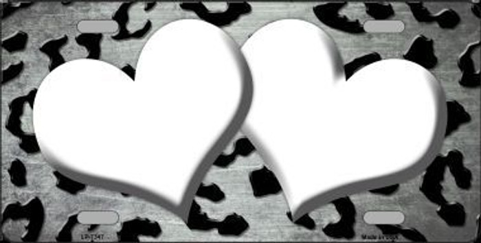 White Black Cheetah Hearts Print Oil Rubbed Metal Novelty License Plate