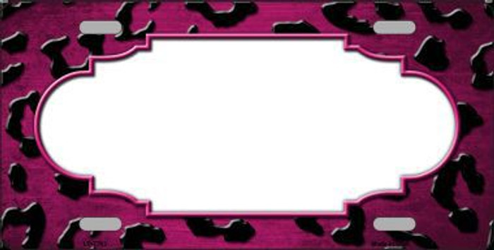 Pink White Black Cheetah Scallop Print Oil Rubbed Metal Novelty License Plate