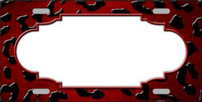 Red Black Cheetah Scallop Print Oil Rubbed Metal Novelty License Plate